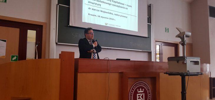 Eksperci Instytutu Emerytalnego poprowadzili seminarium pt.WYZWANIA POLSKIEGO SYSTEMU EMERYTALNEGO W 2018 ROKU na Uniwersytecie Ekonomicznym w Krakowie