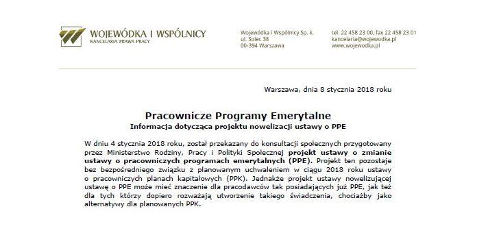 Pracownicze Programy Emerytalne – Informacja dotycząca projektu nowelizacji ustawy o PPE