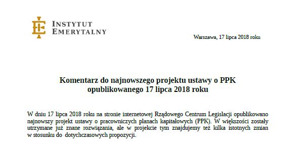 Komentarz do najnowszego projektu ustawy o #PPK z dnia 4 lipca 2018 r.