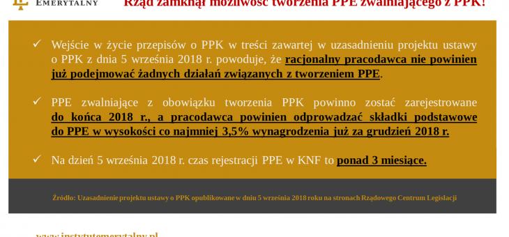 Pracodawcy nie będą już tworzyć PPE – Rząd zamyka możliwość tworzenia PPE zwalniającego z PPK