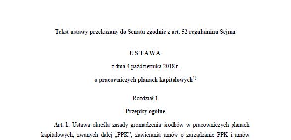 Tekst ustawy z dnia 4 października 2018 r. o pracowniczych planach kapitałowych