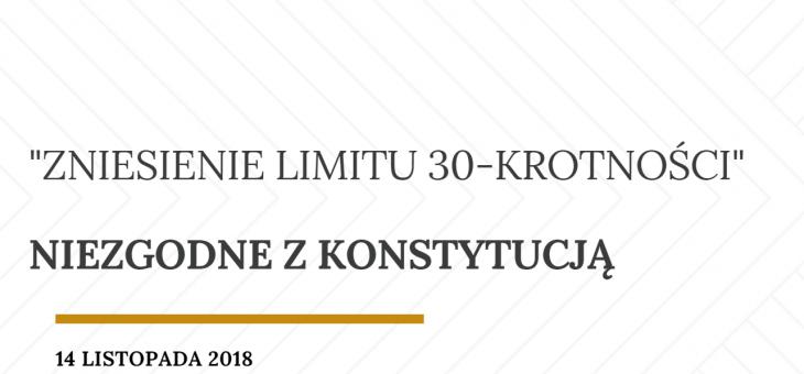 Zniesienie limitu 30-krotności – informacja prawna
