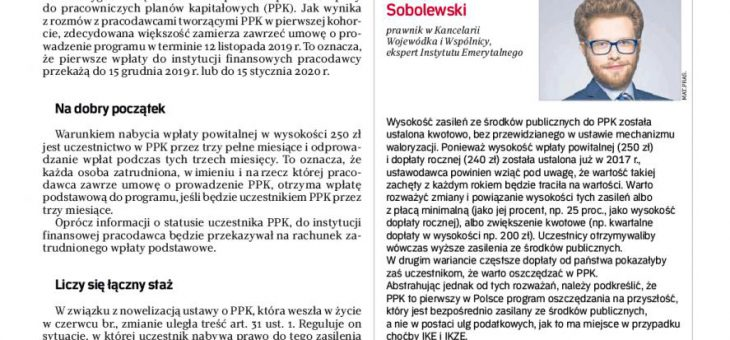 PPK: wpłata powitalna i dopłaty roczne – Oskar Sobolewski dla Rzeczpospolita