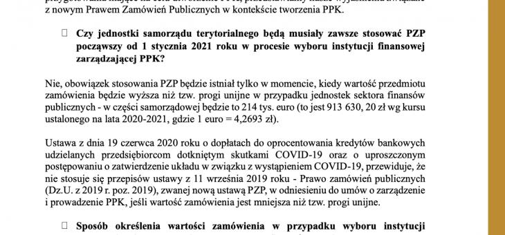 Stanowisko Instytutu Emerytalnego w sprawie postępowania jednostek sektora finansów publicznych  w reżimie nowego PZP (wchodzącego w życie  w dniu 1 stycznia 2021 roku)